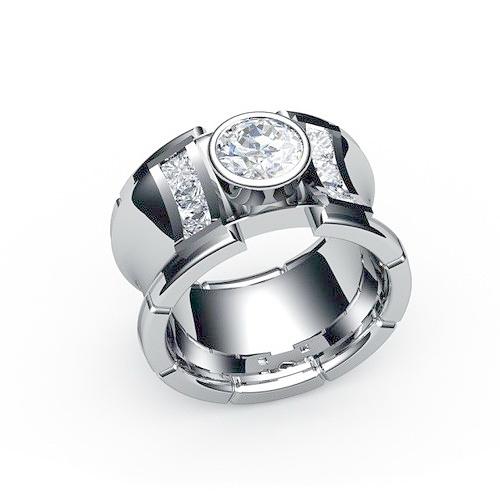 7a13d8822f25 Кольцо широкое с крупным камнем эксклюзивного дизайна из белого ...