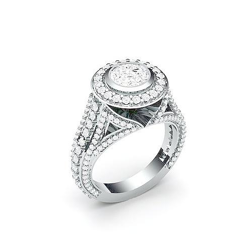 9c607c34045e Эксклюзивное помолвочное кольцо с крупным камнем в центре из белого ...