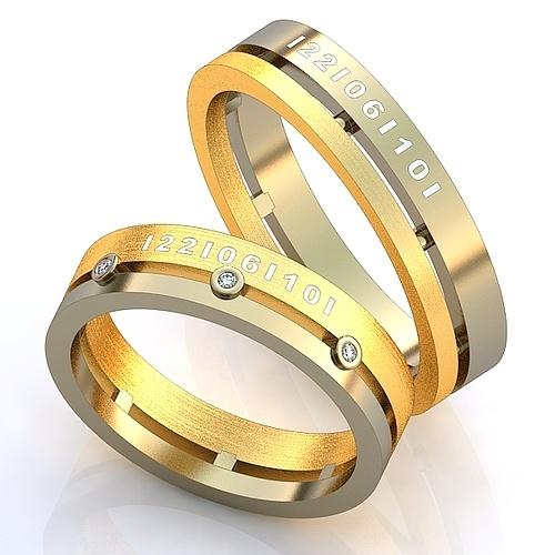 f60f2b65c1e1 Эксклюзивные обручальные кольца двухсплавные с драгоценными камнями с  гравировкой даты бракосочетания