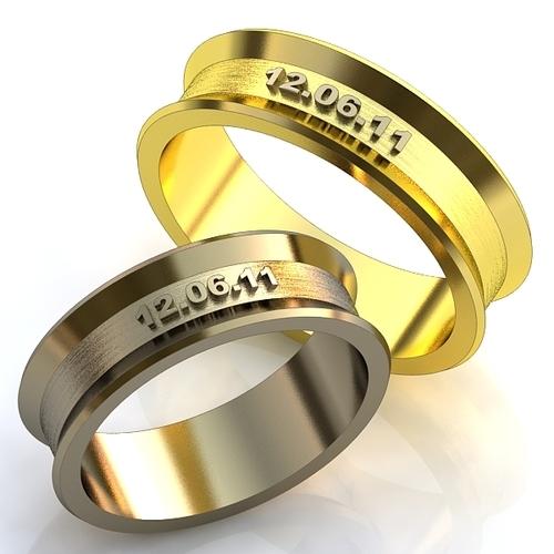 222c23a8ea90 Эксклюзивные двухсплавные обручальные кольца в стиле хай - тек с датой  бракосочетания. Вес от 5 г.