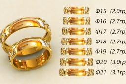 237041b475f0 Обручальные кольца 585 пр. широкие в классическом стиле с рисунком от 15 до  21 размера