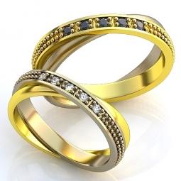 839ec22c905d Эксклюзивные двухсплавные обручальные кольца в стиле хай - тек с  драгоценными камнями. Вес от 6