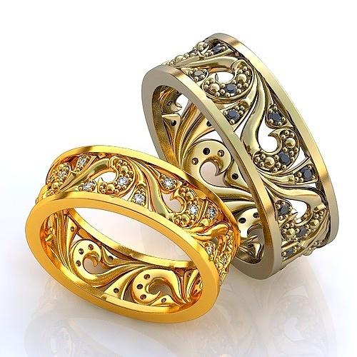 10ff8b52223b Эксклюзивные двухсплавные обручальные кольца в стиле русское узорочье с  драгоценными камнями. Вес от 6 г.